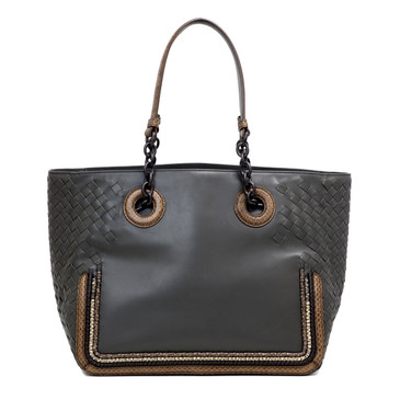 Bottega Veneta Intrecciato Snakeskin Trim Medium Tote