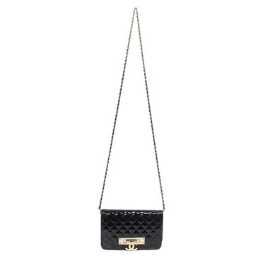"Chanel Patent Leather ""Golden Class"" Wallet on Chain WOC"