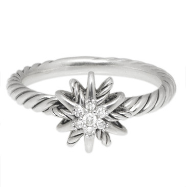 David Yurman Sterling Silver & Diamond Small Starburst Ring