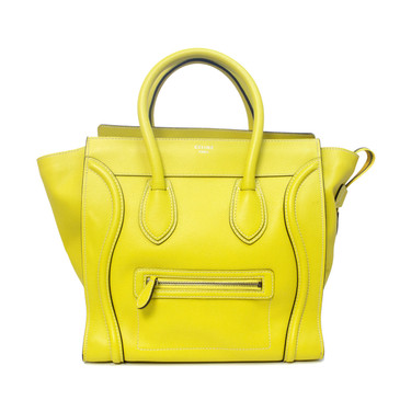 Celine Yellow Drummed Calfskin Mini Luggage Tote