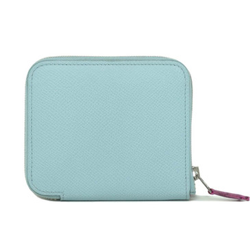 Hermes Blue Epsom Silk'in Compact Wallet