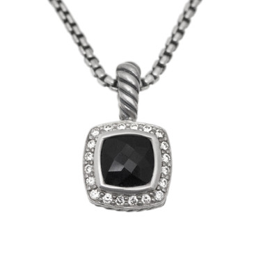 David Yurman Sterling Silver, Diamond & Onyx Petite Albion Pendant