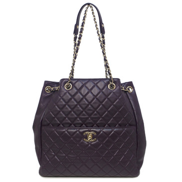 Chanel Purple Quilted Lambskin Large Drawstring Bag