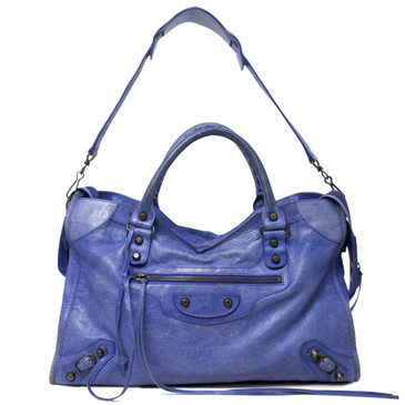 Balenciaga Blue Lambskin Classic City Bag