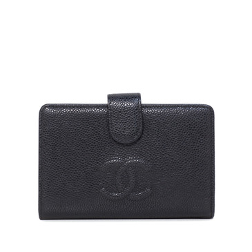 Chanel Black Caviar Timeless CC Zipped Pocket Wallet