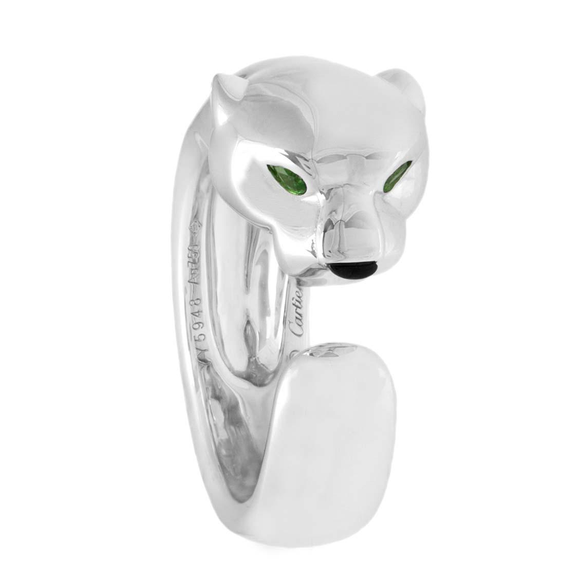 9a1fbbc84fad7 Cartier Panthere de Cartier 18K White Gold, Tsavorite Garnets & Onyx Ring