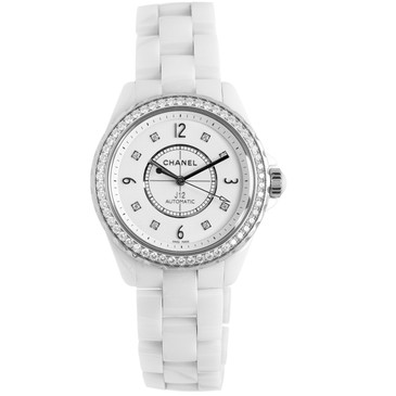 Chanel J12 White Ceramic & Diamond Automatic Watch H3111