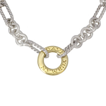 David Yurman Sterling Silver & 18K Oval Link Gold Circle Necklace