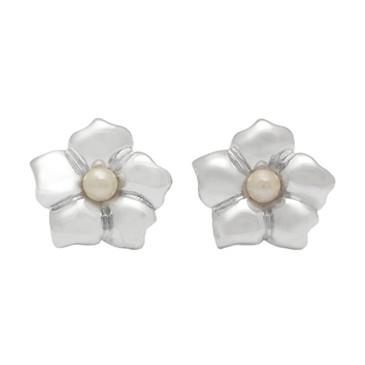 Tiffany & Co. Sterling Silver & Pearl Flower Stud Earrings
