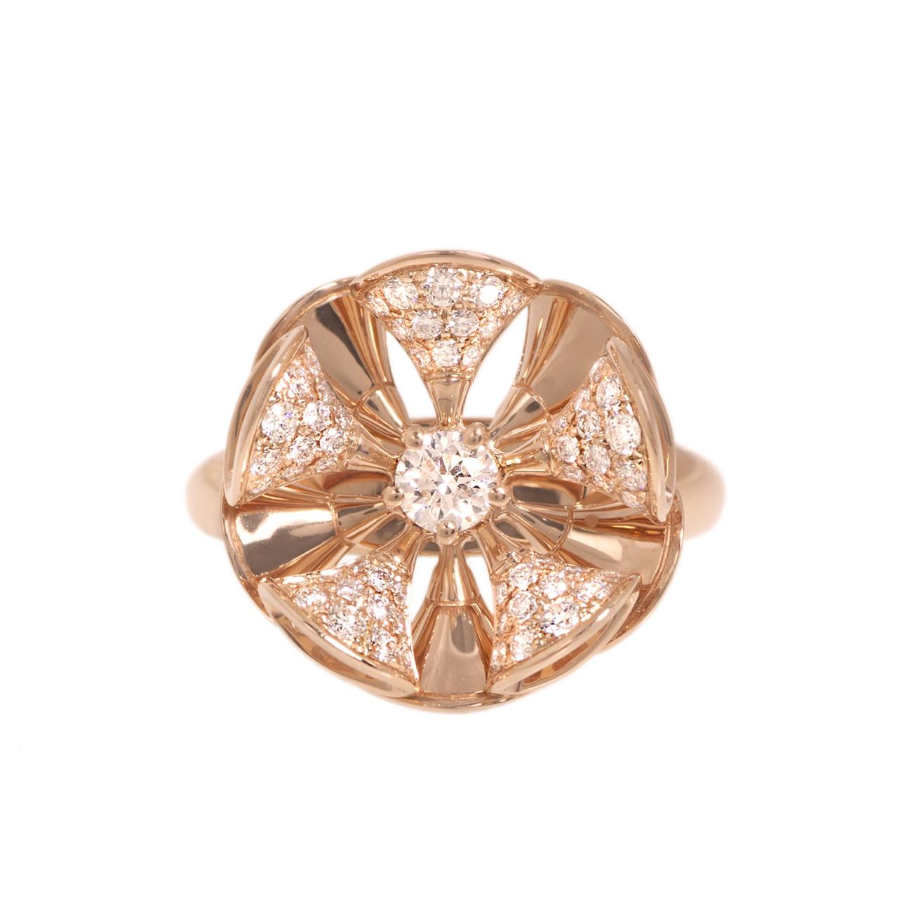 bvlgari bulgari 18k rose gold u0026 diamond divasu0027 dream ring