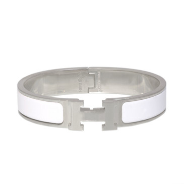 Hermes White Enamel Clic Clac Bracelet