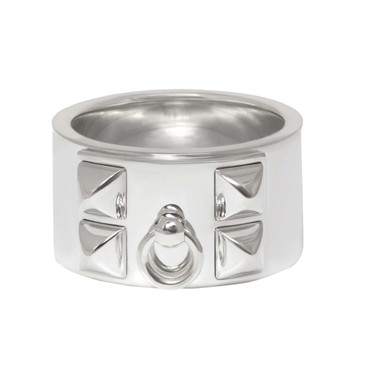 Hermes Sterling Silver Collier de Chien Ring