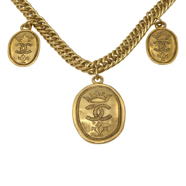 Chanel Crown CC Medallion  Necklace