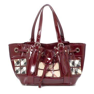 Burberry Red Patent Leather Nova Check Warrior bag