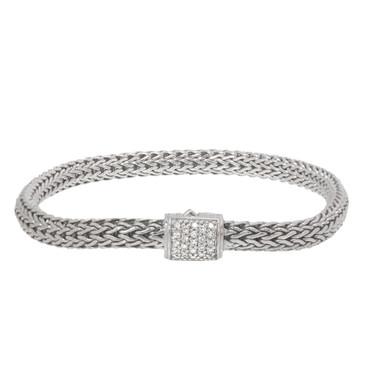 John Hardy Sterling Silver Classic Chain Bracelet with Diamonds