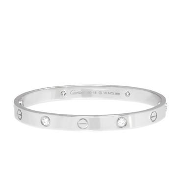 Cartier 18K  White Gold & Diamond Love Bracelet