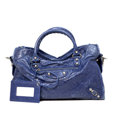 Balenciaga Blue Lambskin Giant 12 City Bag