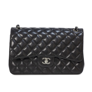 Chanel Black Quilted Lambskin Classic Jumbo Double Flap