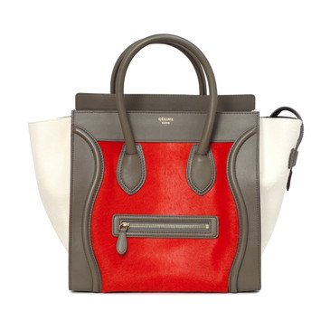 Celine Tri Color Calf Hair & Leather Mini Luggage Tote