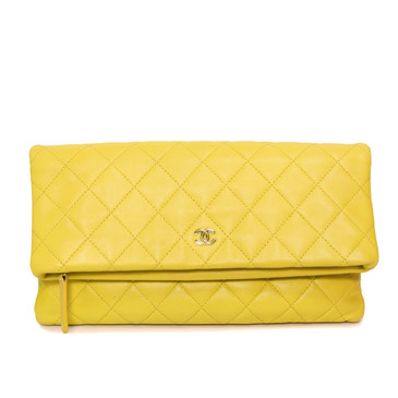 Chanel Yellow Quilted Lambskin Fold Over Beauty Clutch