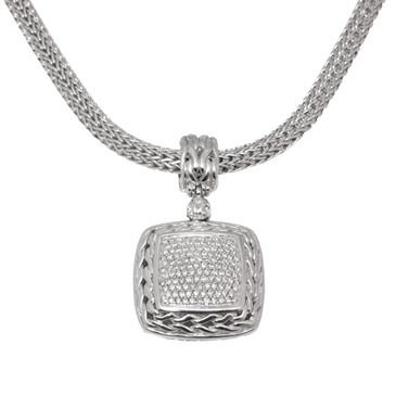 John Hardy Classic Chain Pave Diamond Pendant Necklace