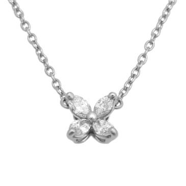 Tiffany & Co. 950 Platinum & Diamond Mini Victoria Pendant Necklace