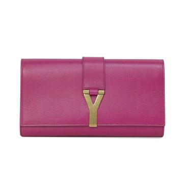 YSL Saint Laurent Pink Fuchsia Classic Y Clutch