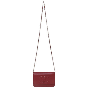 Chanel Red Caviar Leather Timeless Wallet on Chain WOC