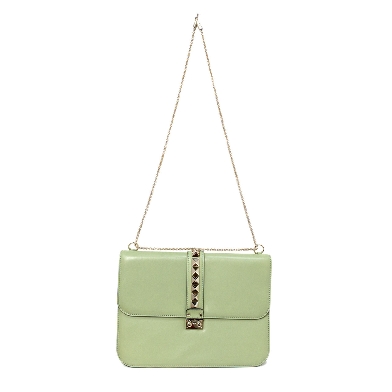07d8d1a15 Valentino Mint Green Large Glam Lock Rockstud Flap Bag - modaselle