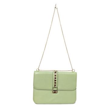 Valentino Mint Green Large Glam Lock Rockstud Flap Bag