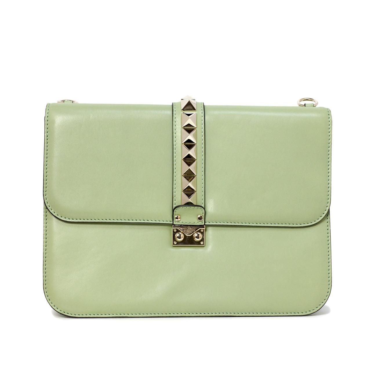 ba37f4bb689d2 Valentino Mint Green Large Glam Lock Rockstud Flap Bag - modaselle