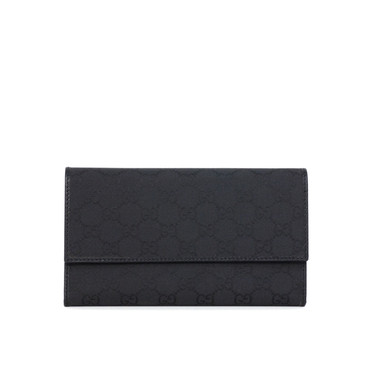 Gucci Black Monogram Canvas Trifold Continental Wallet