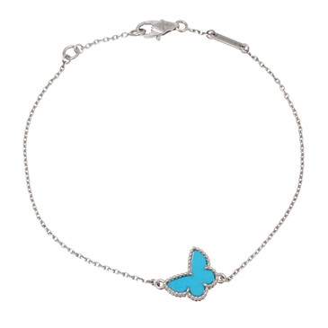 Van Cleef & Arpels 18K White Gold & Turqouise Sweet Alhambra Butterfly Bracelet