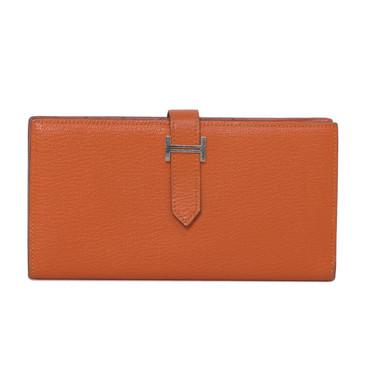 Hermes Orange Chevre Bearn Gusset Wallet