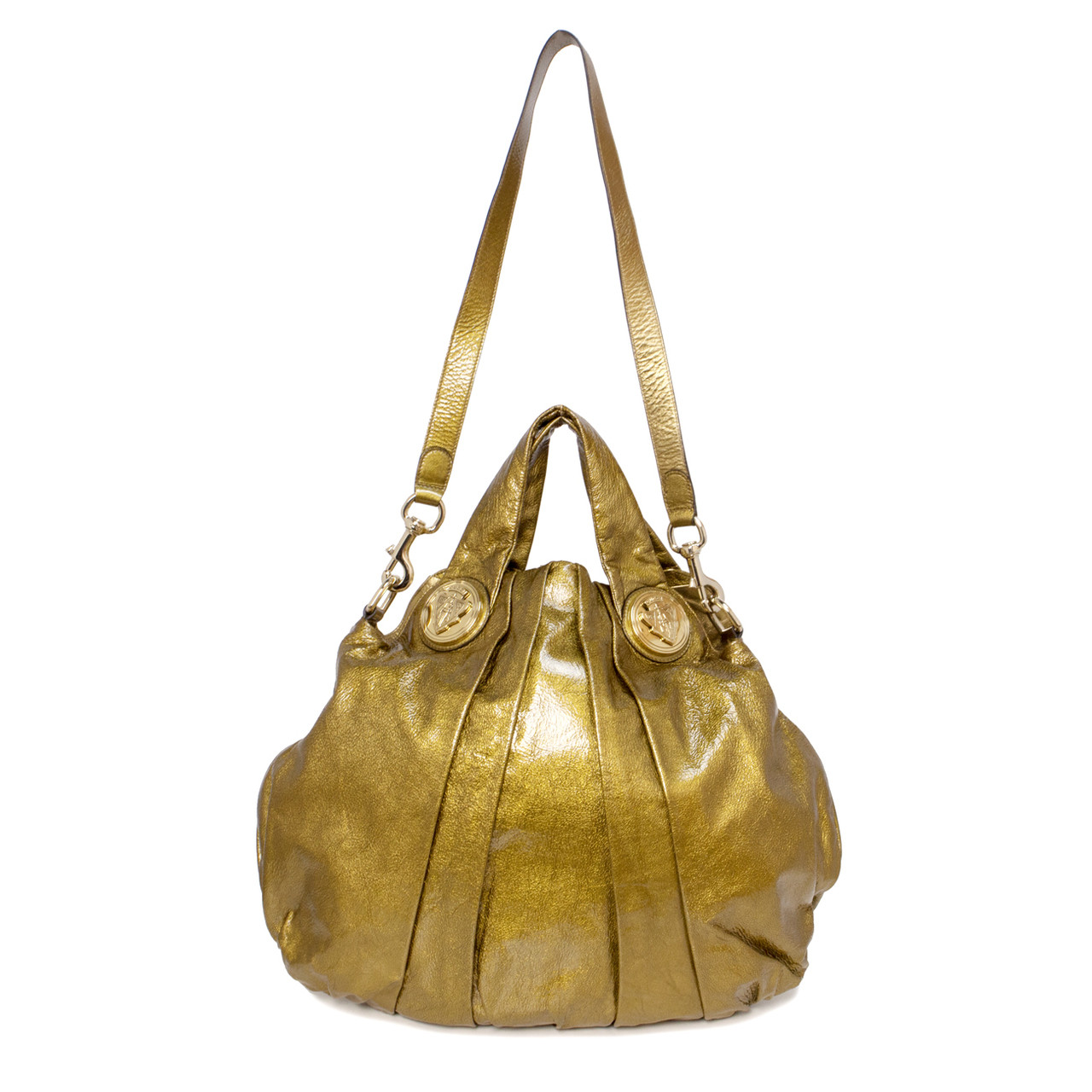 d3a8b12c986 Gucci Gold Patent Leather Hysteria Hobo Bag - modaselle