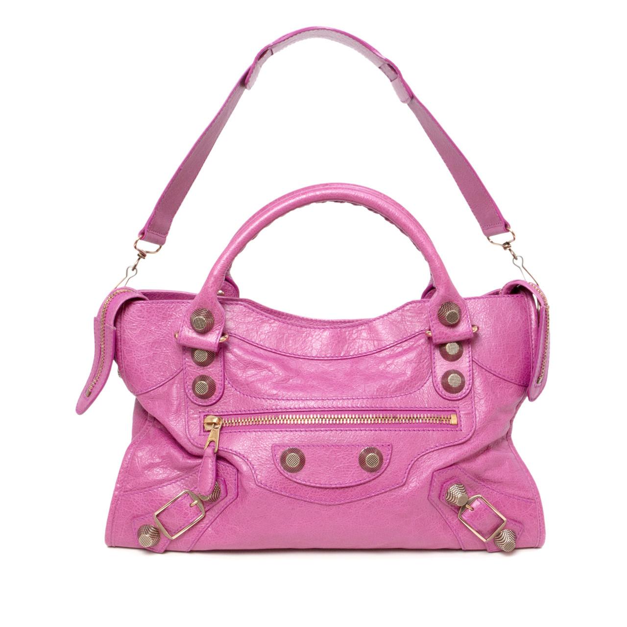 06a8c5fdc211 Balenciaga Pink Lambskin Giant 21 City Bag - modaselle