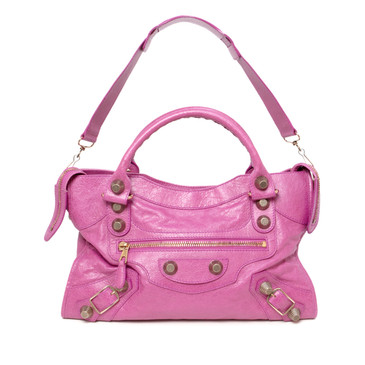 Balenciaga Pink Lambskin Giant 21 City Bag