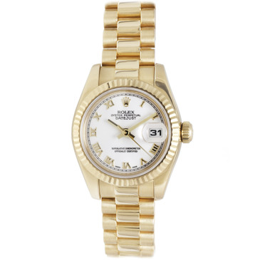 Rolex 18K Yellow Gold White Roman Dial Ladies President Datejust 179178