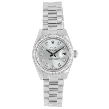 Rolex 950 Platinum Ice Blue & Diamond Dial Ladies President Datejust 179136