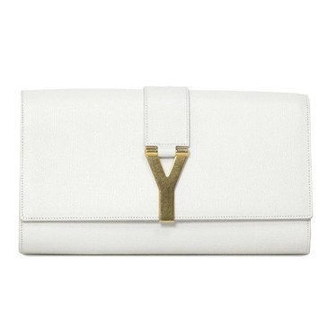 YSL Saint Laurent White Textured Calfskin Classic Y Clutch