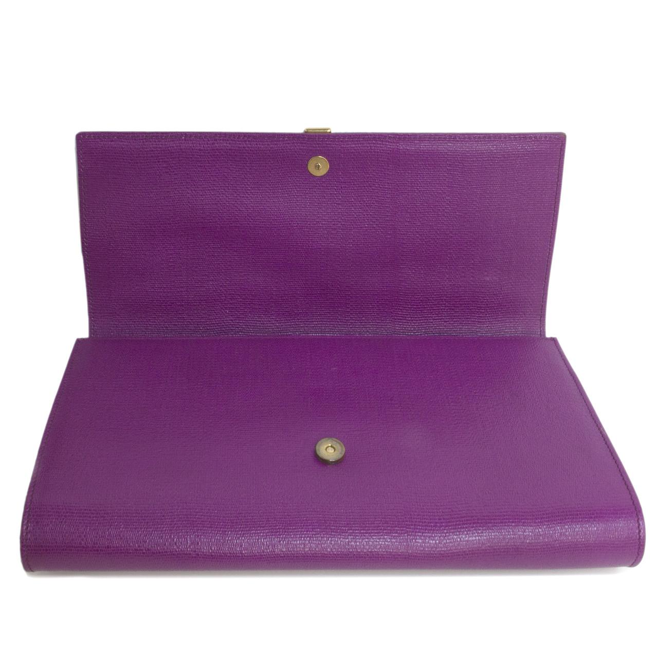 e7151dc1c3baf YSL Saint Laurent Purple Textured Calfskin Classic Y Clutch - modaselle