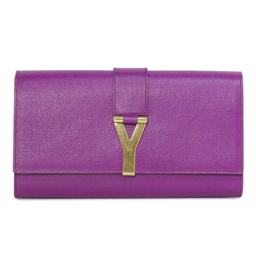 YSL Saint Laurent Purple Textured Calfskin Classic Y Clutch