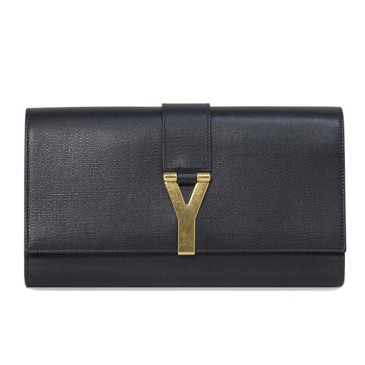 YSL Saint Laurent Black Textured Calfskin Classic Y Clutch