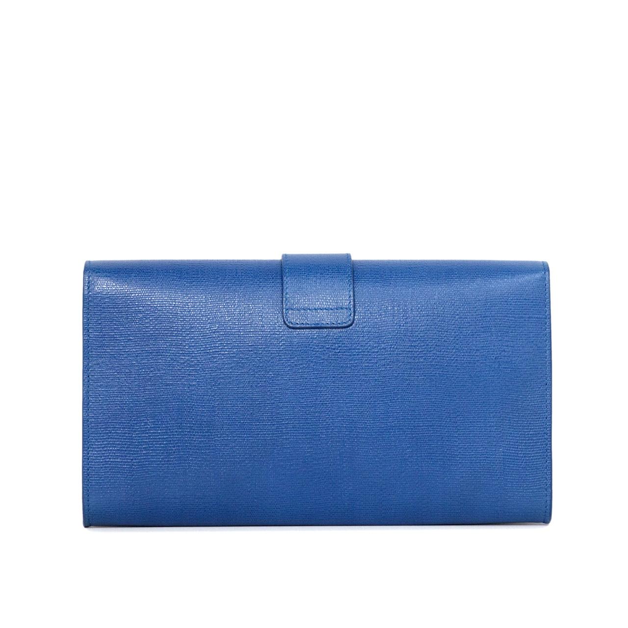 31b130e7de41d YSL Saint Laurent Blue Textured Calfskin Classic Y Clutch - modaselle