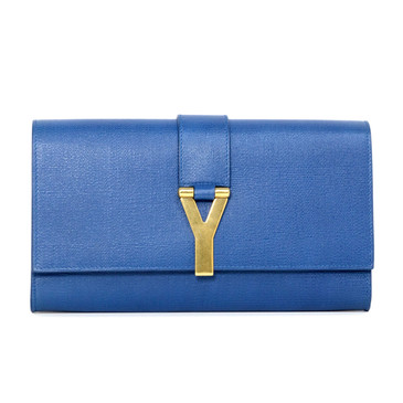 YSL Saint Laurent Blue Textured Calfskin Classic Y Clutch