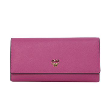 MCM Pink Embossed Leather Milla Trifold Wallet