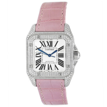 Cartier 18K White Gold & Diamond Santos 100 Ladies Watch