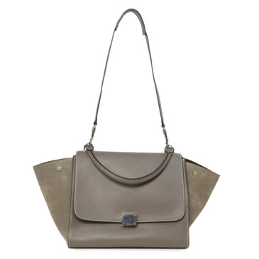 Celine Grey Drummed Calfskin & Suede Medium Trapeze Bag