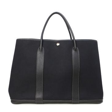 Hermes Black Canvas & Negonda Leather TGM Garden Party