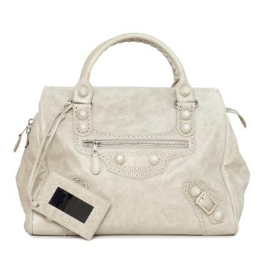 Balenciaga Beige Lambskin Covered Midday Bag